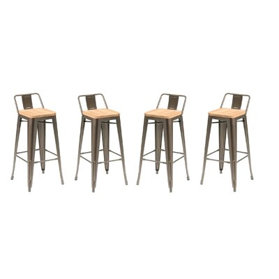 Long Low Back 26 Bar Stool with Wood Seat