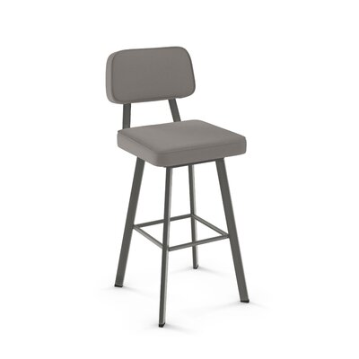 Cloran 30 Swivel Textured Black Bar Stool Color: Matte Dark Gray, Upholstery: Warm Gray Polyurethane