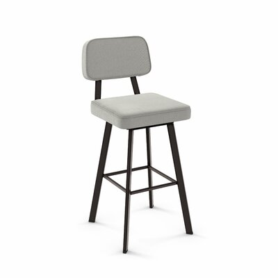 Cloran 30 Swivel Textured Black Bar Stool Color: Textured Dark Brown, Upholstery: Pale Gray Polyester