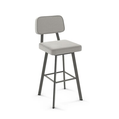 Cloran 30 Swivel Textured Black Bar Stool Color: Matte Dark Gray, Upholstery: Pale Gray Polyester