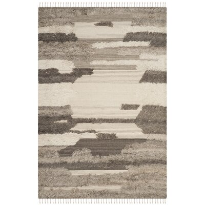 Lurdes Hand-Knotted Ivory/Gray Area Rug Rug Size: Rectangle 5 x 8