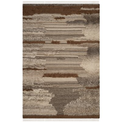 Lurdes Hand-Knotted Gray/Brown Area Rug Rug Size: Rectangle 10 x 14