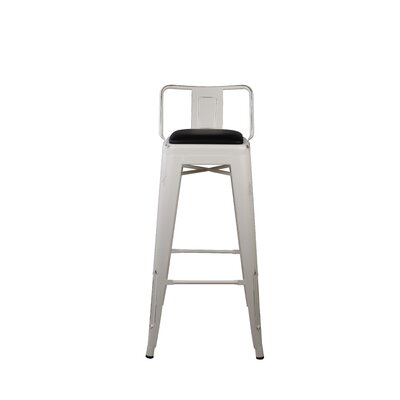 Alric Low Back Metal 30 Bar Stool Color: White