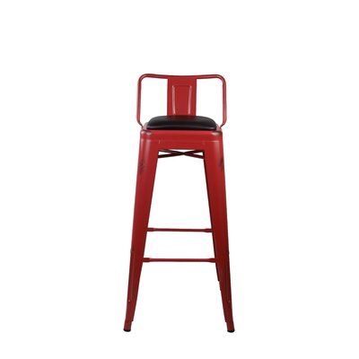 Alric Low Back Metal 30 Bar Stool Color: Red
