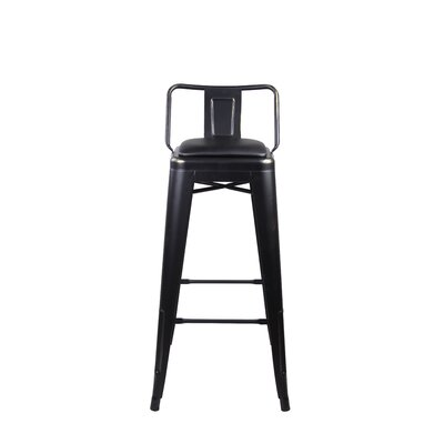 Alric Low Back Metal 30 Bar Stool Color: Black