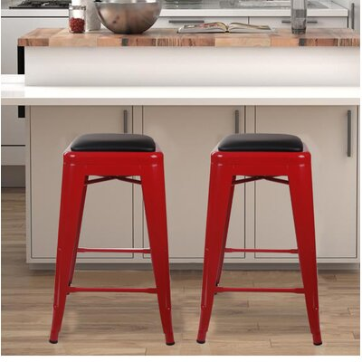 Apsel 24 Bar Stool Color: Red