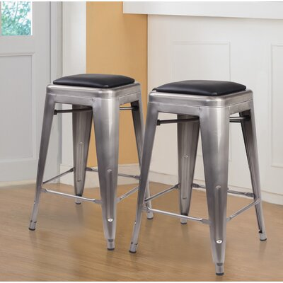 Apsel 24 Bar Stool Color: Gunmetal