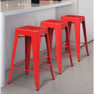 Armina 30 Bar Stool Color: Red