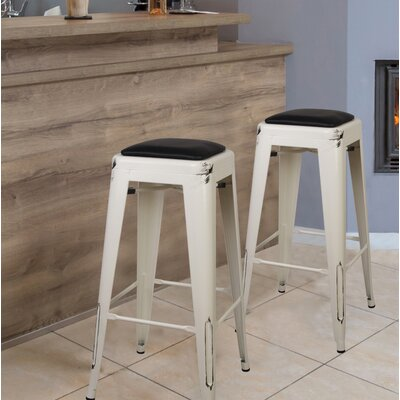 Apsel 30 Bar Stool Color: Antique White