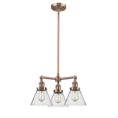 Adelinda Large Cone 3-Light Mini Chandelier Finish: Antique Copper