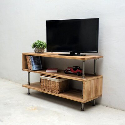 Elbert Modern Industrial Entertainment Center Color: Natural