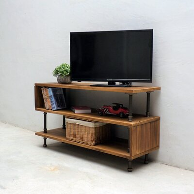 Elbert Modern Industrial Entertainment Center Color: Light Brown/Red/Yellow