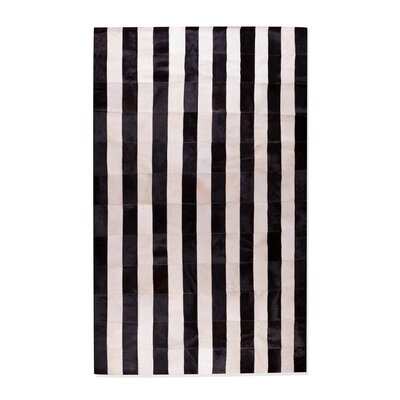 Darshan Stitch Striped Hand-Woven Cowhide Black/White Area Rug Rug Size: Rectangle 5 x 8