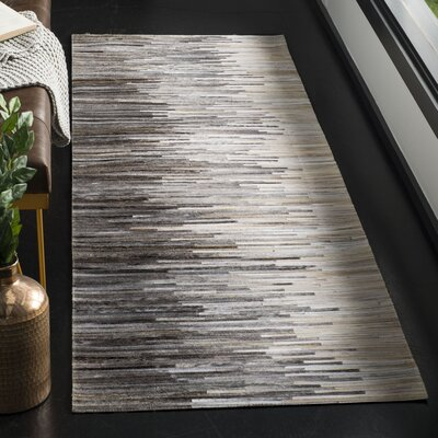 Patricio Leather Hand Tufted Charcoal Area Rug Rug Size: Runner 23 x 7