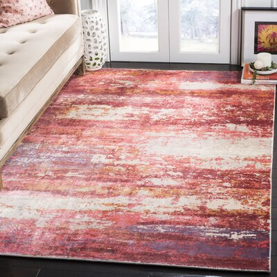 Cuevas Hand-Woven Red/Ivory Area Rug Rug Size: Rectangle 6 x 9