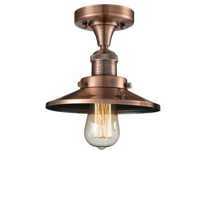 Ame 1-Light Semi Flush Mount Fixture Finish: Antique Copper