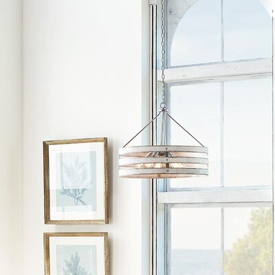 Emaria 5-Light Drum Pendant Finish: Galvanized, Shade Color: Antique White