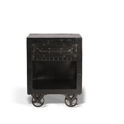 Connie End Table with Storage Color: Rubbed Black