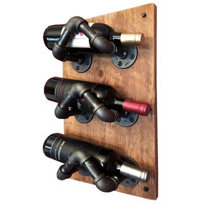 Darcie Industrial Pipe 3 Bottle Wall Mounted Wine Bottle Rack