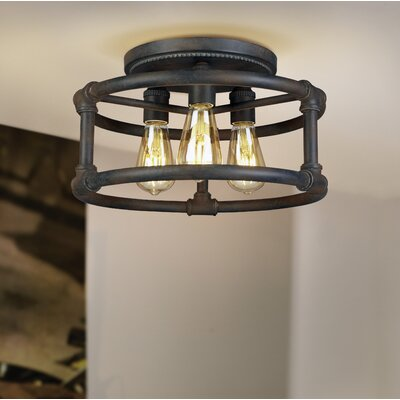 Dessert 3-Light Semi Flush Mount Fixture finish: Zinc
