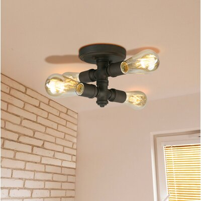 Dessert 4-Light Semi Flush Mount Fixture finish: Matt Bronze
