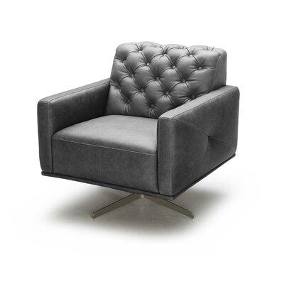 Bensley Italian Leather Swivel Armchair Upholstery: Black