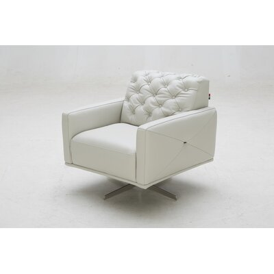 Jabari Italian Leather Swivel Armchair Upholstery: Light Grey