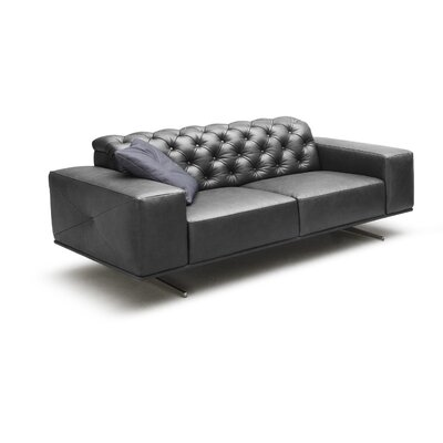 Jabari Italian Leather Sofa Upholstery: Black