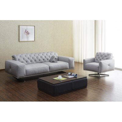 Bensley Italian Leather Sofa Upholstery: Light Grey