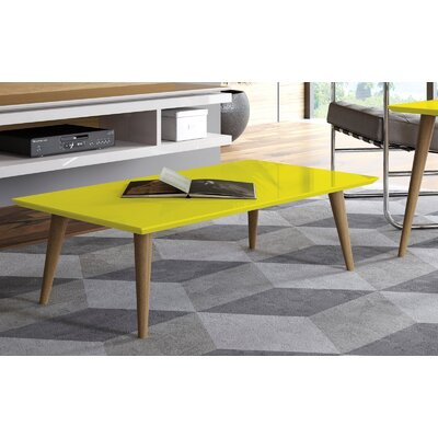 Lemington Rectangle Coffee Table with Splayed Legs Color: Yellow