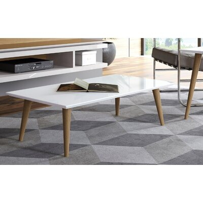 Lemington Rectangle Coffee Table with Splayed Legs Color: White Gloss