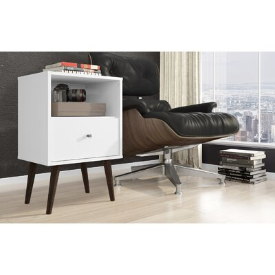 Lewis Mid Century Modern 1 Drawer Nightstand Color: White