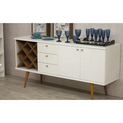 Lemington Wine Rack Sideboard Buffet Table Color: White Gloss/Maple Cream