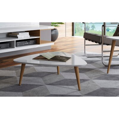 Lemington Triangle Coffee Table with Splayed Legs Color: Off White