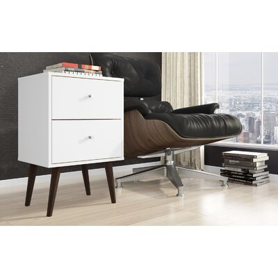 Lewis Mid Century Modern 2 Drawer Nightstand Color: White
