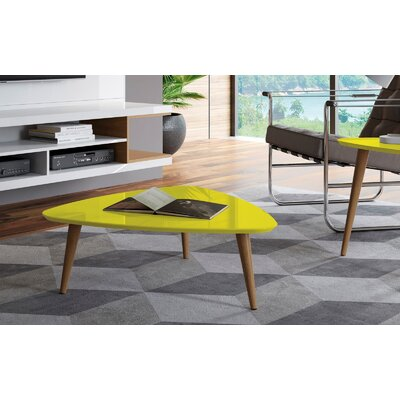 Lemington Triangle Coffee Table with Splayed Legs Color: Yellow