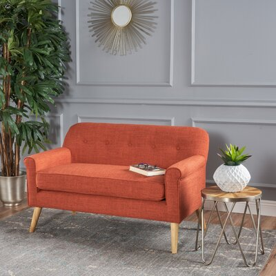 Enfield Mid Century Modern Loveseat Upholstery: Muted Orange