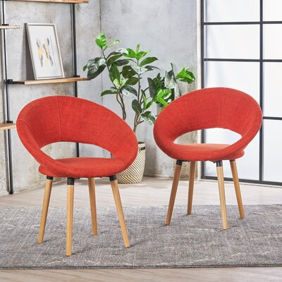Image of Glastonbury Fabric Modern Upholstered Dining Chair Color: Muted Orange