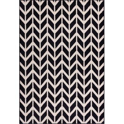 Chittenden Chevron Black & Beige Area Rug Rug Size: 82 x 910