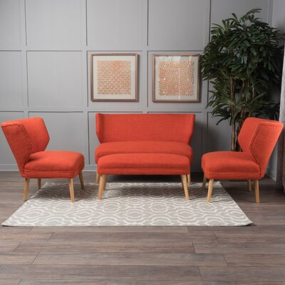 Cortlandt 4 Piece Living Room Set Upholstery: Orange