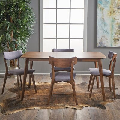 Henry 5 Piece Wood Dining Set Upholstery Color: Green Tea, Finish: Natural Oak