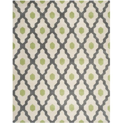 Ellicott Hand-Tufted Gray/Ivory Area Rug Rug Size: Rectangle 8 x 10