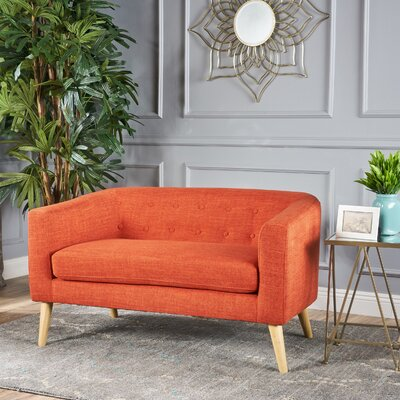 Pawlet Fabric Loveseat Upholstery: Orange