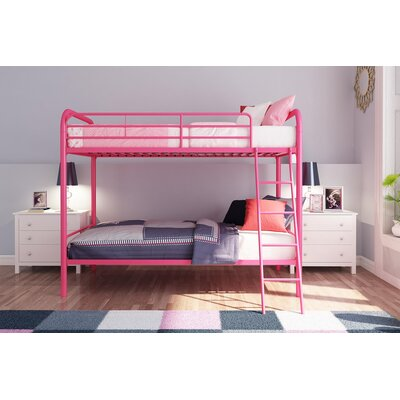 Maryanne Twin Over Twin Bunk Bed Color: Pink