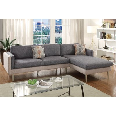 Varghese Reversible Sectional Upholstery: Ash Black/Sand