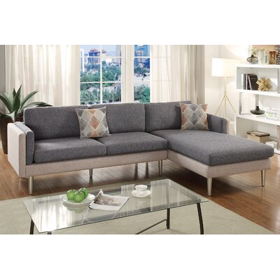 Varghese Reversible Sectional Upholstery: Coffee/Light Coffee