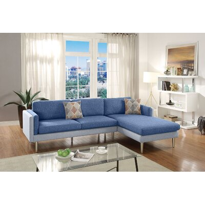 Varghese Reversible Sectional Upholstery: Blue/Aqua
