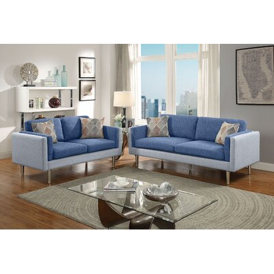 Vargo 2 Piece Living Room Set Upholstery: Blue/Aqua