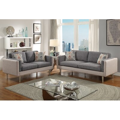 Vargo 2 Piece Living Room Set Upholstery: Ash Black/Sand