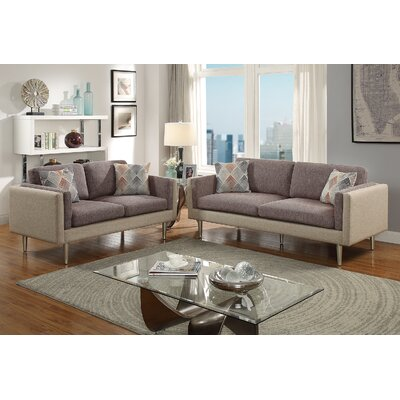 Vargo 2 Piece Living Room Set Upholstery: Coffee/Light Coffee